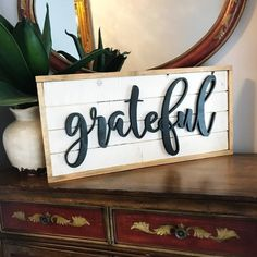 Wall Decor Shiplap Sign | Grateful Sign | Design Your Own | Farmhouse Rustic Wall Sign | Handcut Sign | Scroll Saw Sign | Lush Lemon Studio