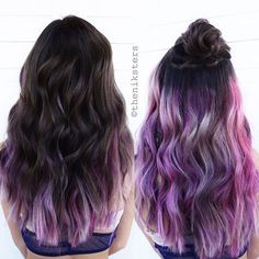 Two modes hairstyles~ love this purple ombre hair color and style so much, work…