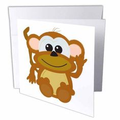 3dRose Cute Goofkins Monkey Cartoon, Greeting Card, 6 x 6 inches, single