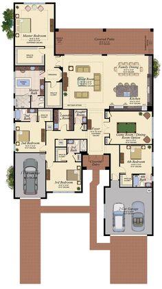 Open floor plan - plenty of rooms House Plans Mansion, Family House Plans, New House Plans, Dream House Plans, Modern House Plans, House Floor Plans, House Layout Plans, House Layouts, Home Design Floor Plans