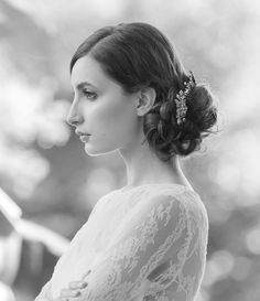 messy chignon, headpiece by @Robin Headley ATELIER by LIV HART | photo by Millie B Photography