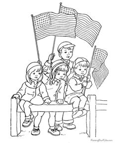 July 4th Ideas - Mustard Seeds: Cute vintage coloring pages for July 4th