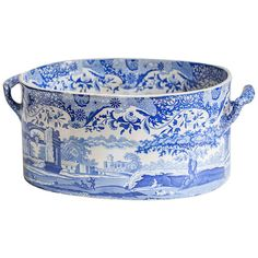 Blue & white transferware footbath