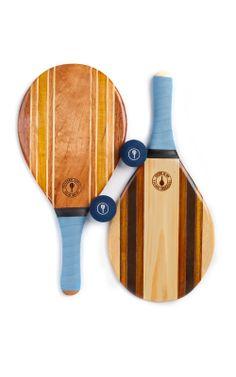 Frescobol Carioca's Wooden Trancoso Beach Bat and Ball Set