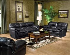 Kean Black Leather Sofa Couch Set - Leather Living Room Collection