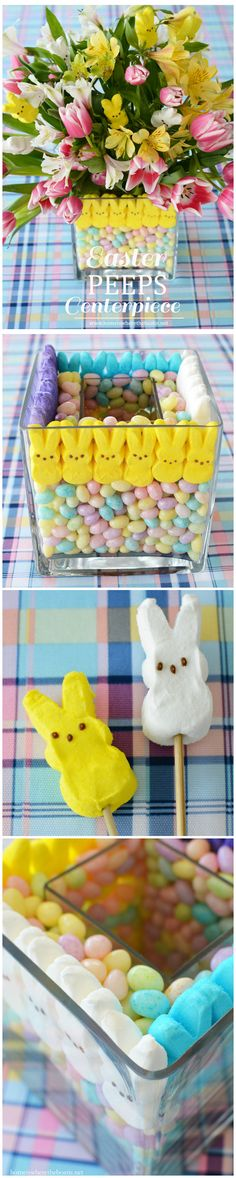 Easter PEEPS {Easy and Edible} Centerpiece! Easter Peeps centerpiece for your table! Easy to assemble and edible too! Easter Peeps, Easter Candy, Easter Brunch, Easter Food, Bunny Crafts, Easter Crafts, Easter Decor, Christmas Crafts, Edible Centerpieces