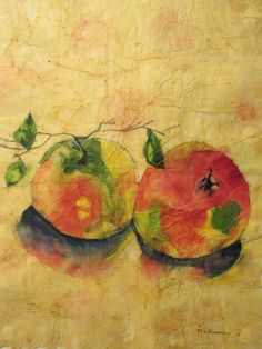Apple Painting Original Abstract Watercolor by MarciaMcKinzieArt