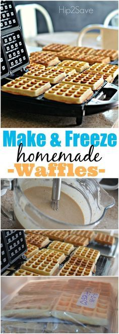 Make & Freeze Homemade Waffles. Let's be honest your morning schedules are busy and you're trying to save a little money. Why not take a weekend afternoon morning or weekday evening to make your own waffles. This way you can get the family breakfast in Best Waffle Recipe, Waffle Maker Recipes, Freezer Recipes, Homemade Waffles, Homemade Breakfast, Breakfast Healthy, Breakfast Ideas, Waffles Recipe No Milk, Breakfast