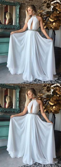 White round neck chiffon long prom dress, white evening dress