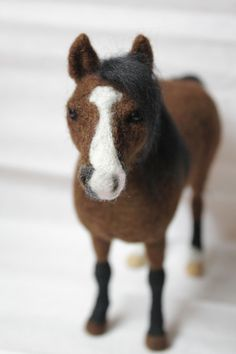 Needle felted Horse made to order- soft sculpture with an internal wire structure making it pose-able and stable.  Created by AliceFelts