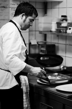 in the kitchen of nero Fine Dining, Chef Jackets, Kitchen, Fashion, Moda, Cooking, Fashion Styles, Fasion, Kitchens
