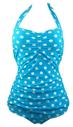 Retro Polka Dot One Piece Swimsuit - i think i'd prefer black and white or red and white but its still adorable