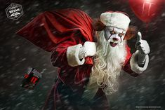 """Santa Wise! Goin all around the world giving """"gifts"""" and then stuffing the children in his bag and zooming off to the next house! Were his next victim awaits....."""