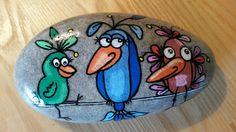 Sjove fugle malet på sten...cute birds!