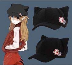 Anime Neon Genesis Evangelion EVA Asuka Langley Soryu Cat Ear Polar Fleece Cosplay Hat for woman Cap + badges