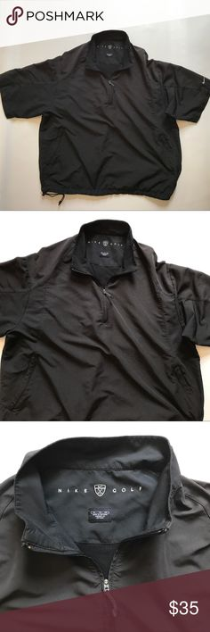 Nike Golf Quarter Zip  Short Sleeve Pullover This Nike Golf, quarter zip, pullover is in very good used condition.  It's black, short sleeved, has a bottom drawstring, 2 side zipped pockets, a vent in back, and is like a windbreaker.  100 polyester.  Size XL.  Bust 25, length 28.  From a smoke free, pet friendly home.  ME 22 Nike Jackets & Coats Windbreakers