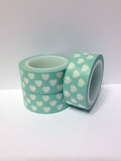Washi Tape Mint Hearts Washi Tape Mint Tape with Hearts 5.5 yards 5 meters on Etsy, $2.25 #rockmyspringwedding @Rock My Wedding