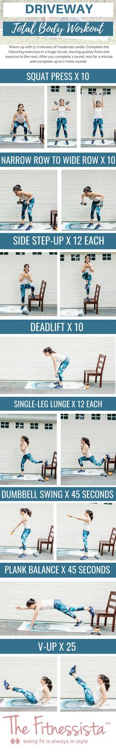 Driveway total body workout - The Fitnessista Quick Workout Routine, Cardio Workout At Home, At Home Workouts For Women, Workout Routines For Women, Exercise Routines, Killer Workouts, Gym Workouts, Weight Workouts, Total Body