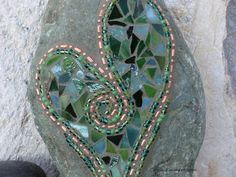 Large Copper and Green Heart - Mosaic on Rock / Garden Stone
