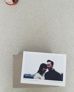 Minimalist wedding save the dates by Minted.