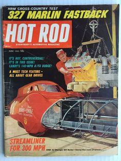 """June 1965 HOT ROD MAGAZINE 327 Marlin Fastback - Bill Burke """"Mr. Prolific"""" - VG"""