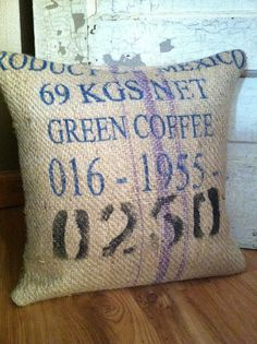 Repurposed Mexican Burlap Coffee Bean Sack Pillow by thewrennsnest on Etsy. Burlap Projects, Burlap Crafts, Craft Projects, Sewing Projects, Projects To Try, Coffee Bean Sacks, Coffee Beans, Burlap Pillows, Throw Pillows