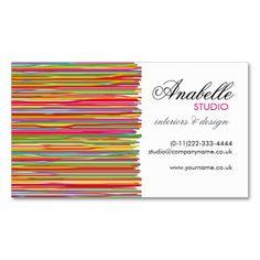 Colorful rainbow stripes interior design business cards