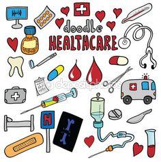 Medicina y cuidado de la salud conjunto de iconos de dibujos animados — Imagen de stock #64707659 Nurse Decor, Planner Stickers, Planner Doodles, Note Doodles, Doodle Pages, Painted Letters, Lettering Tutorial, Graduation Cards, Happy Planner