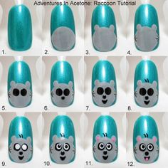 Adventures In Acetone: Tutorial Tuesday: Raccoon Nail Art!