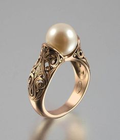 Vintage Rings Gold Pearl Ring A genuine gold pearl. Set in oxidized silver. Stunning Pearl Ring Gold as 1576 Vintage Pearl And Diamond Engagement Rings Pearl Jewelry, Gold Jewelry, Jewelry Box, Vintage Jewelry, Jewelry Accessories, Sapphire Jewelry, Pandora Jewelry, Jewlery, Pandora Rings