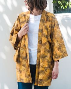Share us on social media and get a 15% off promo code!  Vintage Kimono Haori Jacket, Gold Leaves