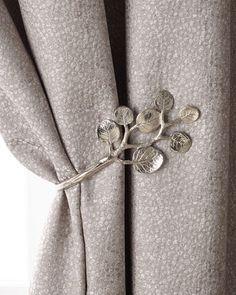 Botanical Leaf Curtain Tieback by Michael Aram at Horchow. Leaf Curtains, Tulle Curtains, Home Curtains, Linen Curtains, Kitchen Curtains, Ramadan Decoration, Luxury Curtains, Curtain Hardware, Vase Crafts