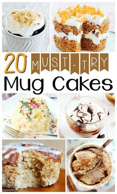Who knew you could throw ingredients in a mug, zap it and get quick and easy desserts? Here are 20 MUST TRY Microwave Mug cakes! Chocolate Chip Mug Cake, Nutella Mug Cake, Salted Caramel Chocolate, Pumpkin Chocolate Chips, Delicious Cake Recipes, Easy Cake Recipes, Easy Desserts, Lemon Mug Cake, Vanilla Mug Cakes