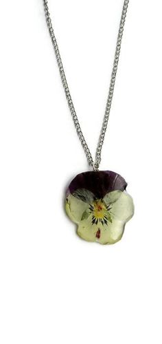 Floral jewelry pansy necklace Resin pansy pendant Real flower pendant necklace Viola in crystal resin jewelry Botanical gift for mother (22.00 USD) by ArtOreCrafts
