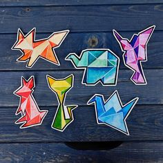 ORIGAMI-STICKERS!  Find them here: http://voidea.etsy.com  #origami #watercolor #illustrations #painting #drawing #etsy #artistsoninstagram #cute #animals #elephant #elefant #kolibri #hummingbird #fox #fuchs #cat #katze #bunny #hase #kaninchen #crane #kranich #inspiration #bunt #colorful #aquarell #sticker #aufkleber #vinyl