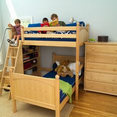 Boys Natural Bunks - loft bed with angled ladder and matching kids dresser. #Maxtrix