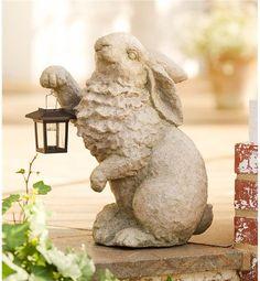 Plow & Hearth Rabbit with Solar Lantern Garden Resin Sculpture 13 L x W x H Rabbit Sculpture, Resin Sculpture, Modern Sculpture, Rabbit Garden, Rabbit Art, Garden Whimsy, Garden Art, Garden Ideas, Outdoor Lighting