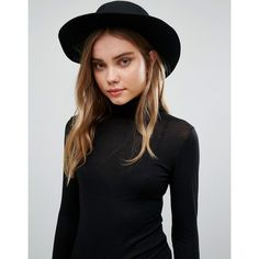 Vero Moda Wool Fedora Hat ($38) ❤ liked on Polyvore featuring accessories, hats, black, wide brim hats, wide brim wool fedora, fedora hat, wool fedora hat and wide brim fedora
