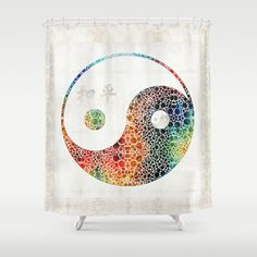 Yin And Yang   Colorful Peace   By Sharon Cummings Shower Curtain