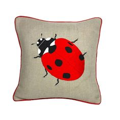Ladybird Embroidered Cushion