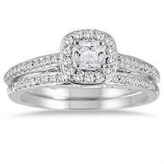 7/8 Carat Cushion Cut Diamond Halo Bridal Set in 14K White Gold Szul http://www.amazon.com/dp/B00P2CXCS8/ref=cm_sw_r_pi_dp_fwLxvb0KYNTPP