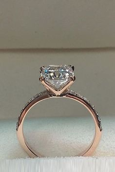 Engagement Ring That Was Created For A Special Bride ❤️ engagement ring rose gold simple diamond solitaire pave band ❤️ See more: http://www.weddingforward.com/engagement-ring/ #wedding #bride