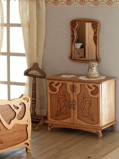 Art Nouveau cabinet for bedroom furniture scale by MINIATURAFR