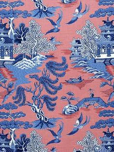 DecoratorsBest - Detail1 - LJ 2004031-519 - WILLOW PATTERN BLUE ON - Fabrics - - DecoratorsBest