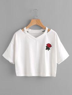 Camiseta con abertura de bordado