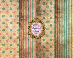 Shabby DIGITAL Paper Collage Sheet  set of 4  by mademoiselleSugar
