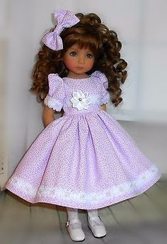 """Handmade dress & hair bow compatible with Dianna Effner 13"""" little darling doll"""