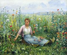 """Picking Wildflowers"" by Daniel R. Knight (1839 - 1924)"