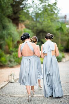 An Ibiza Island wedding with a Mermaid insipred wedding dres by J'Aton Couture, with maids in pretty pale blue Twobirds dresses. Images by Gypsy Westwood Photography.