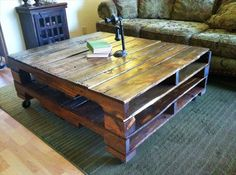 Reclaimed Wooden Coffee Table | Pallet Furniture Plans. This would be great for outside.